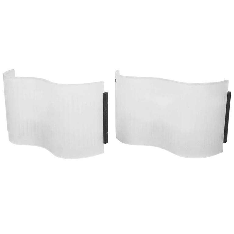 Pair of Frosted Glass Sconces by Artemide