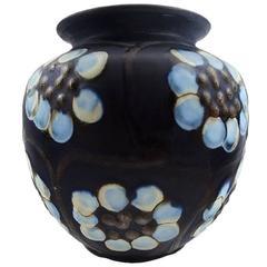 Kähler, Denmark, Glazed Stoneware Vase Decorated with Flowers