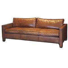 Comfortable, Modern and Sleek Calfskin Leather Three-Seat Sofa / Couch