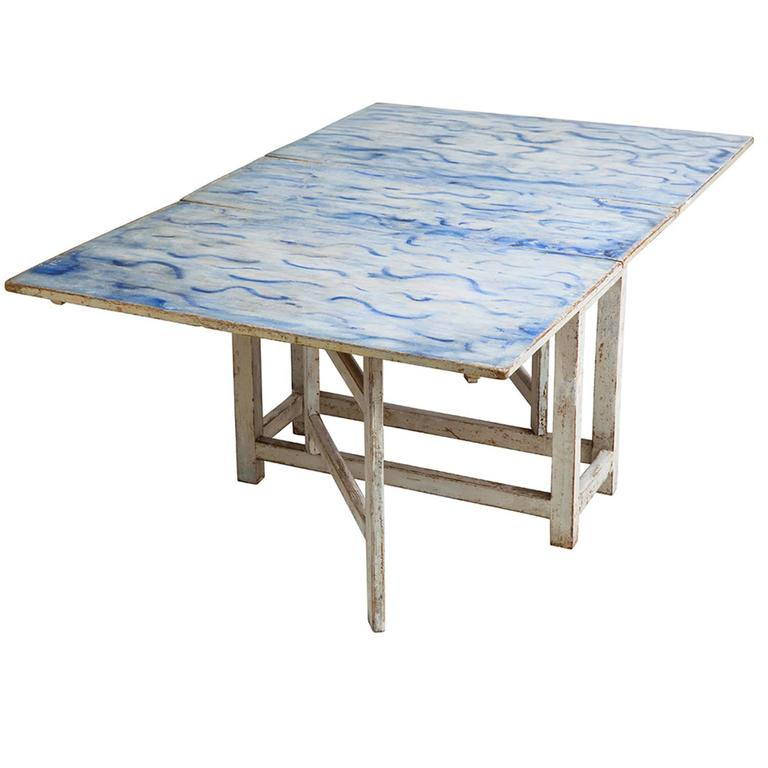 Swedish Blue and White Original Painted Drop-Leaf Table, circa 1820 For Sale