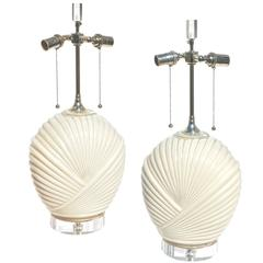 Shell Form Lamps in Cream
