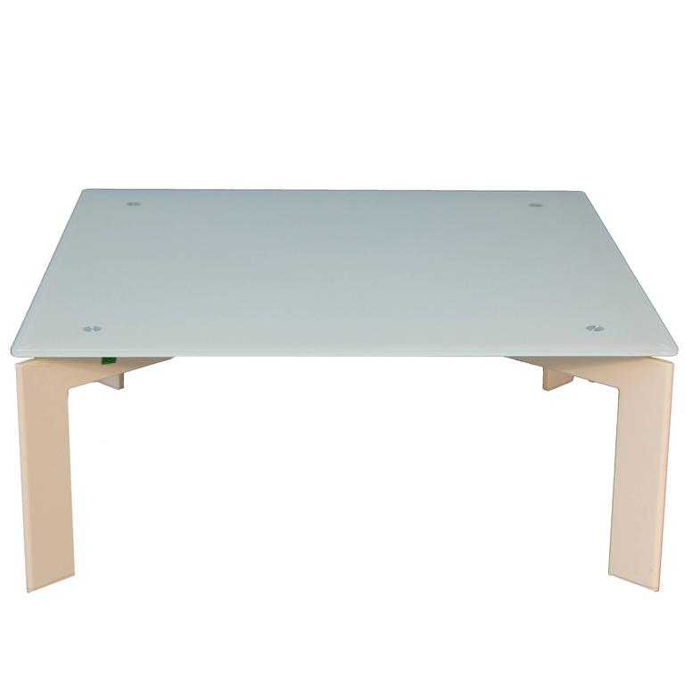 Modern Gl Coffee Table White Base With Frosted For