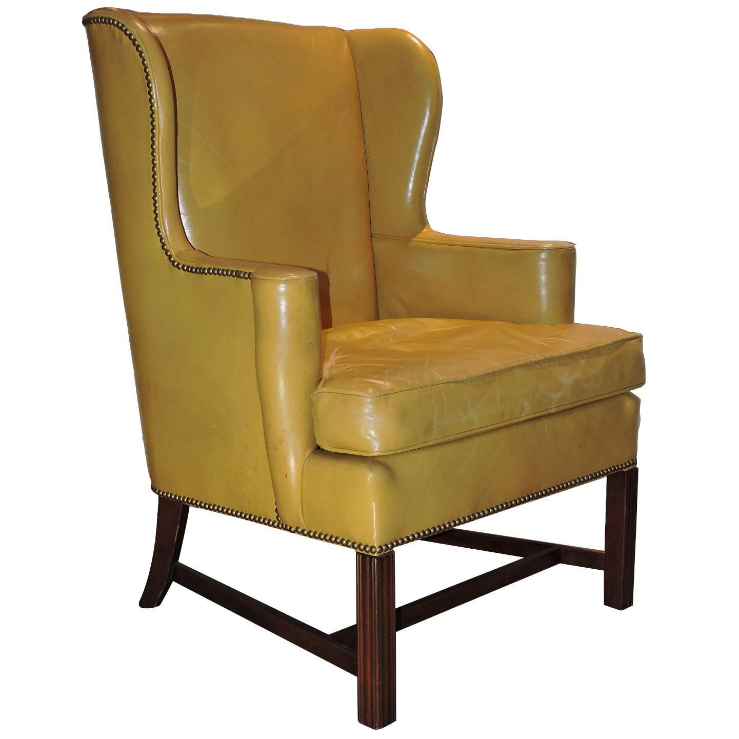 Chippendale Style Mustard Yellow Wingback Library Chair For Sale