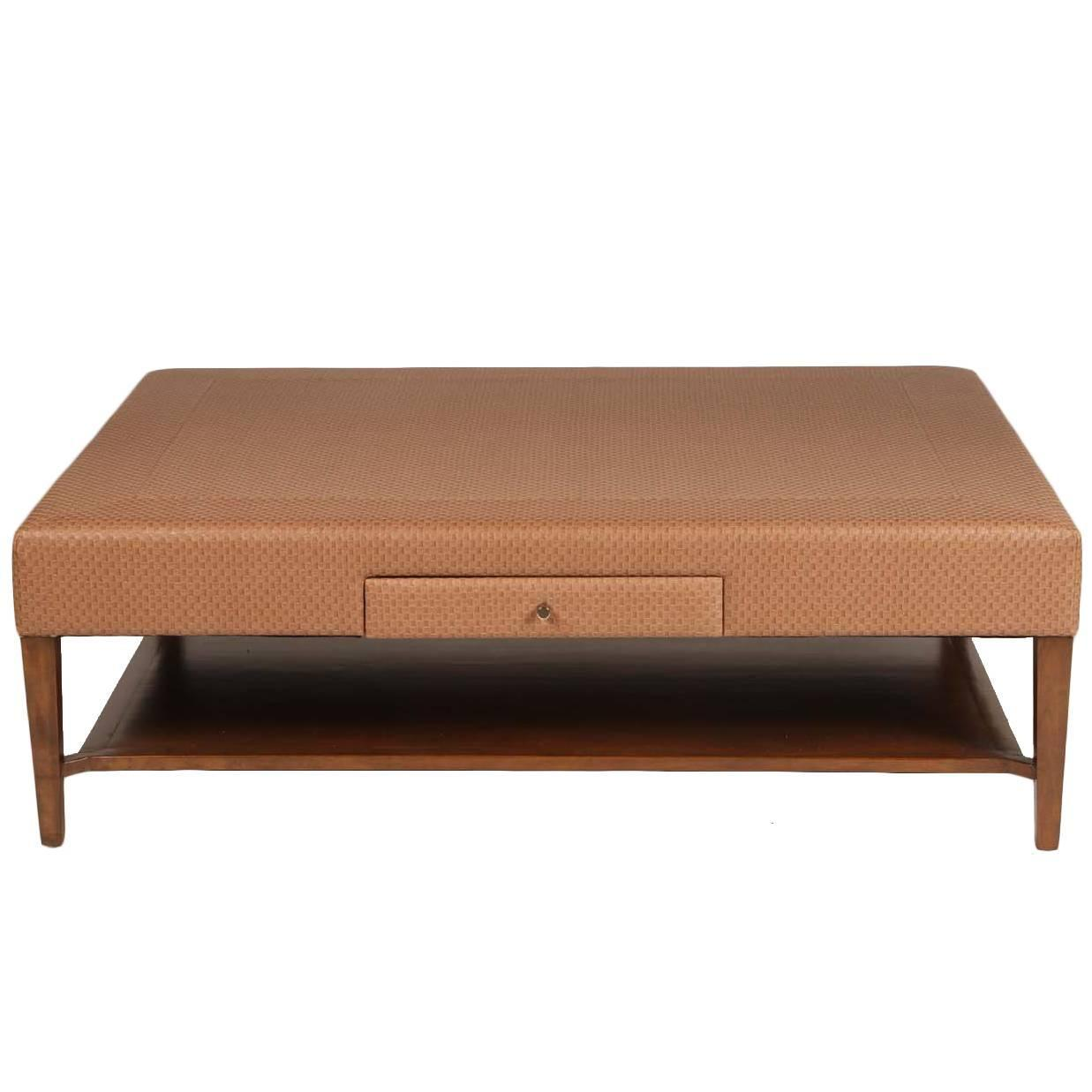 Padded Coffee Tables Solid Wood Espresso Leather Upholstered 2 Tier Coffee Morton Upholstered