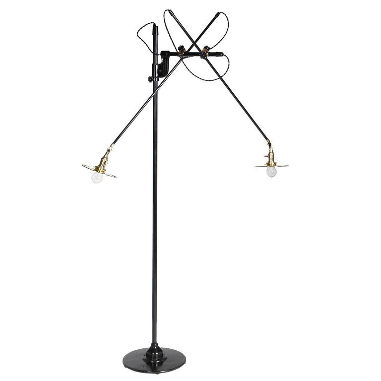 Articulating And Adjustable Two Arm O.C. White Floor Lamp Customized By  WYETH
