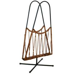 Italian Wicker Magazine Rack