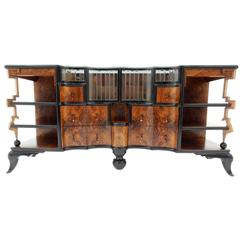 1930s Art Deco Burl Wood Dry Bar Sideboard Cabinet