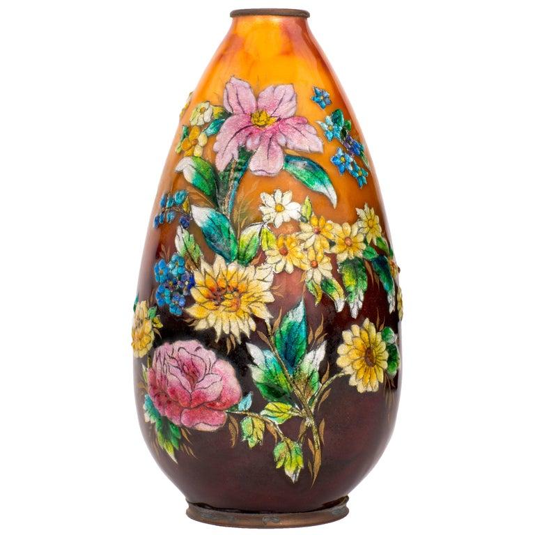 Art Nouveau Enameled Vase by Camille Fauré For Sale