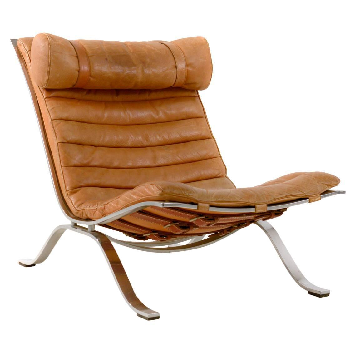 Brown Leather Ari Chair By Arne Norell For Sale At 1stdibs