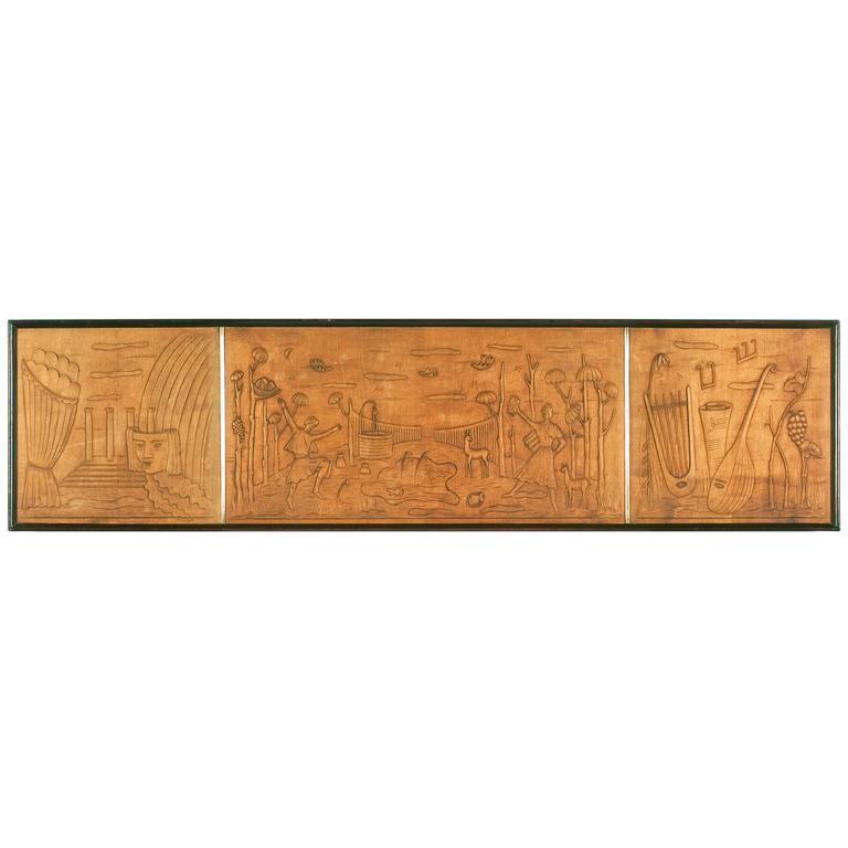 Art Deco Wall Panels: Art Deco Wood Panel At 1stdibs