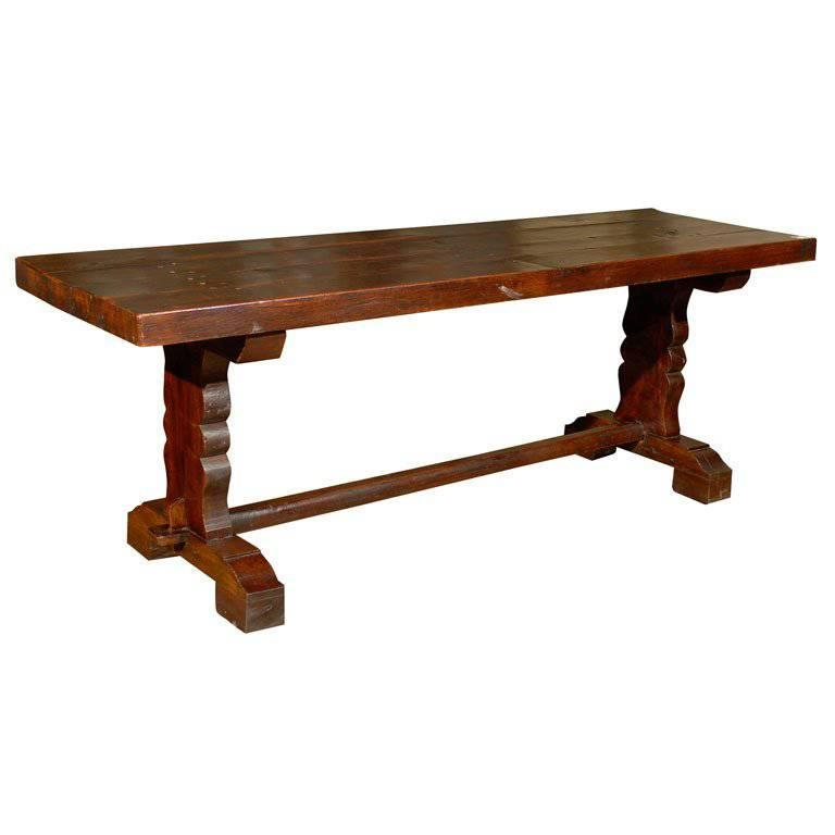 French Wood 19th Century Library/Desk Trestle Table of Deep Warm Brown Color