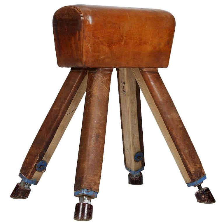 Leather and Wood Vaulting Horse from the 1930s For Sale