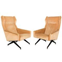 Pair of Sculptural Italian Armchairs