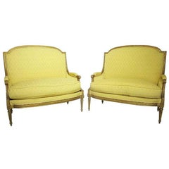 Pair of French 19th Century Louis XVI Style Giltwood Carved Marquises Armchairs