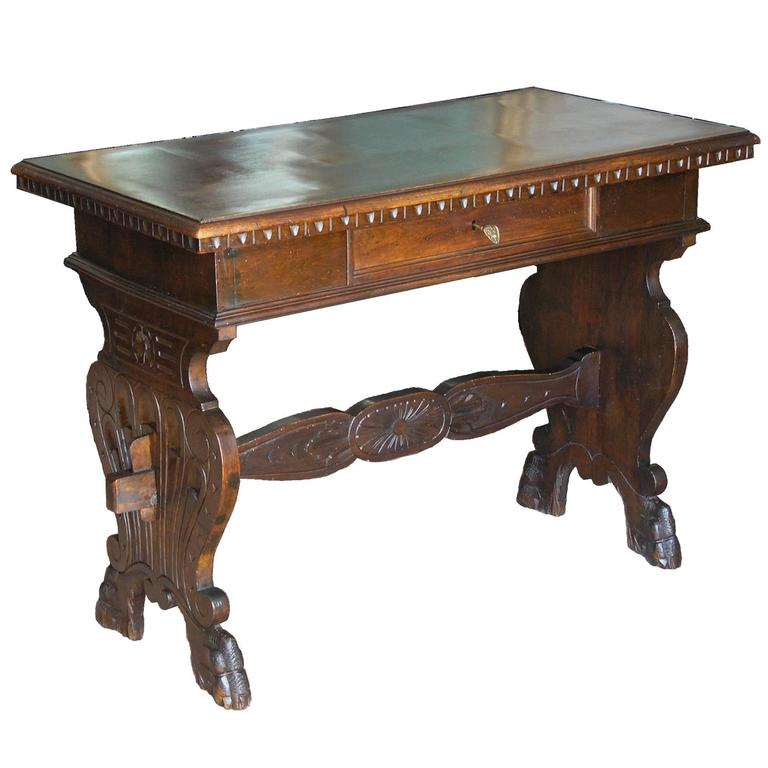 19th Century Tuscan Trestle Writing Table 1