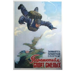 "Original Vintage Soviet Poster Featuring Parachute Jumpers ""Sport For The Brave"""