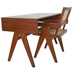 Pierre Jeanneret Desk and Chair, College of Architecture, Chandigarh