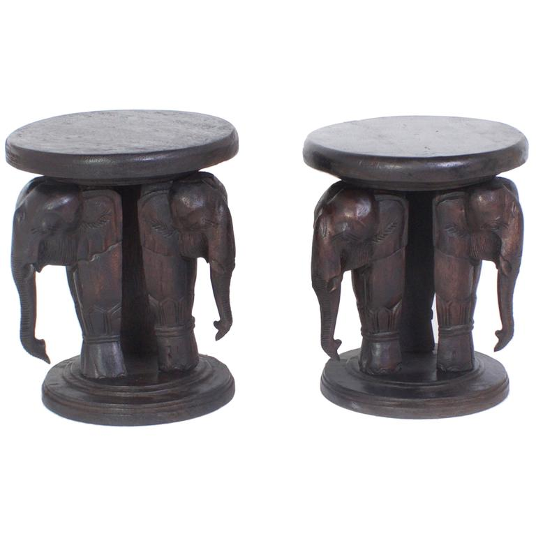 Pair Of Elephant Tables, Carved Hardwood Anglo Indian Style With A Folky  Vibe 1