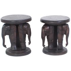 Pair of Elephant Tables, Carved Hardwood Anglo-Indian Style with a Folky Vibe