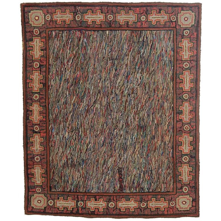Large Abstract Hooked Rug For Sale