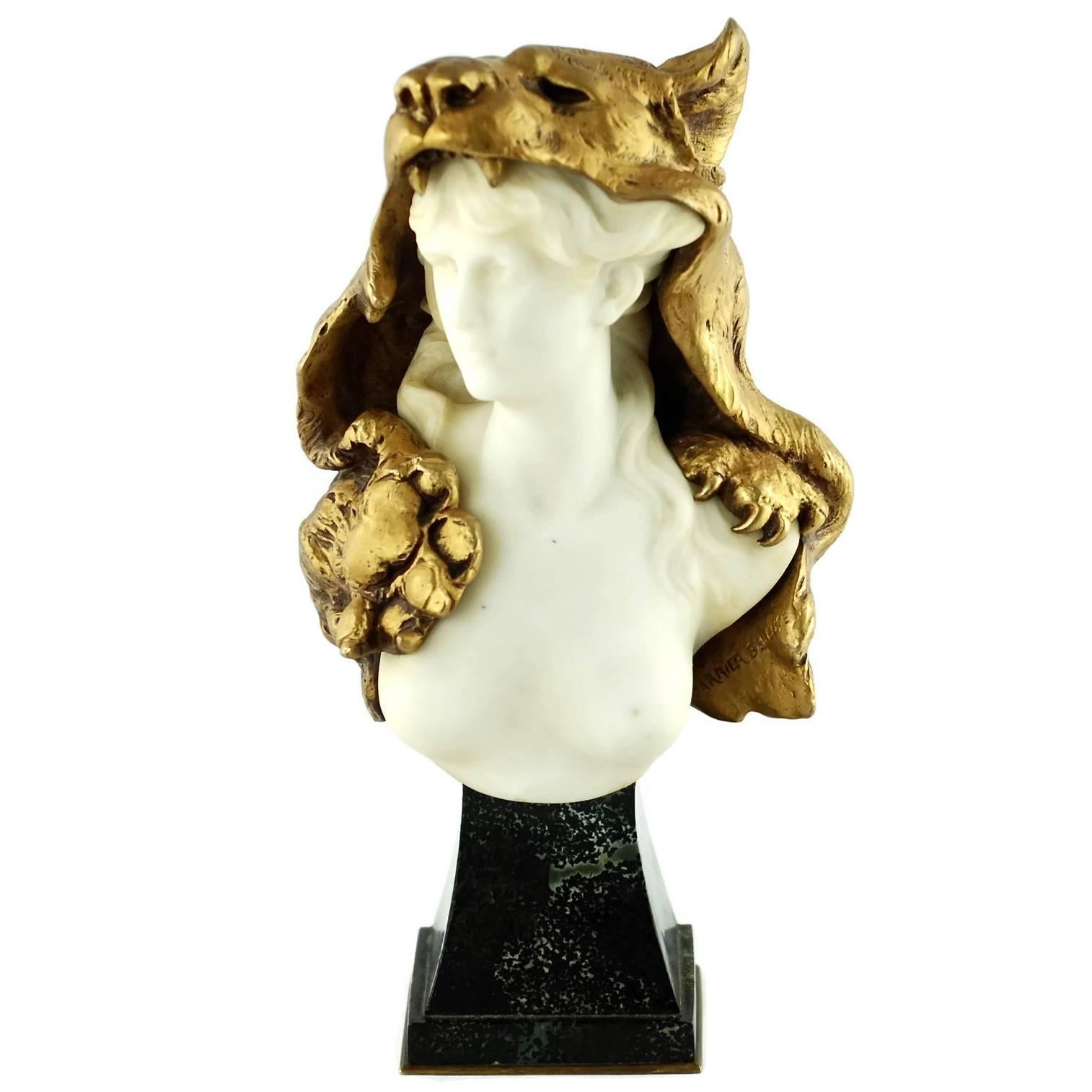 19th Century Louis-Robert Carrier-Belleuse Marble and Bronze Bust of Omphale