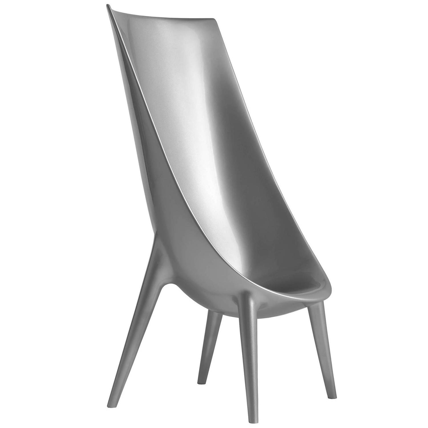 """Out/In"" Metallic Silver Grey High Chair by P. Starck &amp"