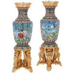 Pair of Very Large Ormolu Mounted Chinese Cloisonné Enamel Vases