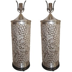 Pair of Silver Plated Chinoiserie Table Lamps
