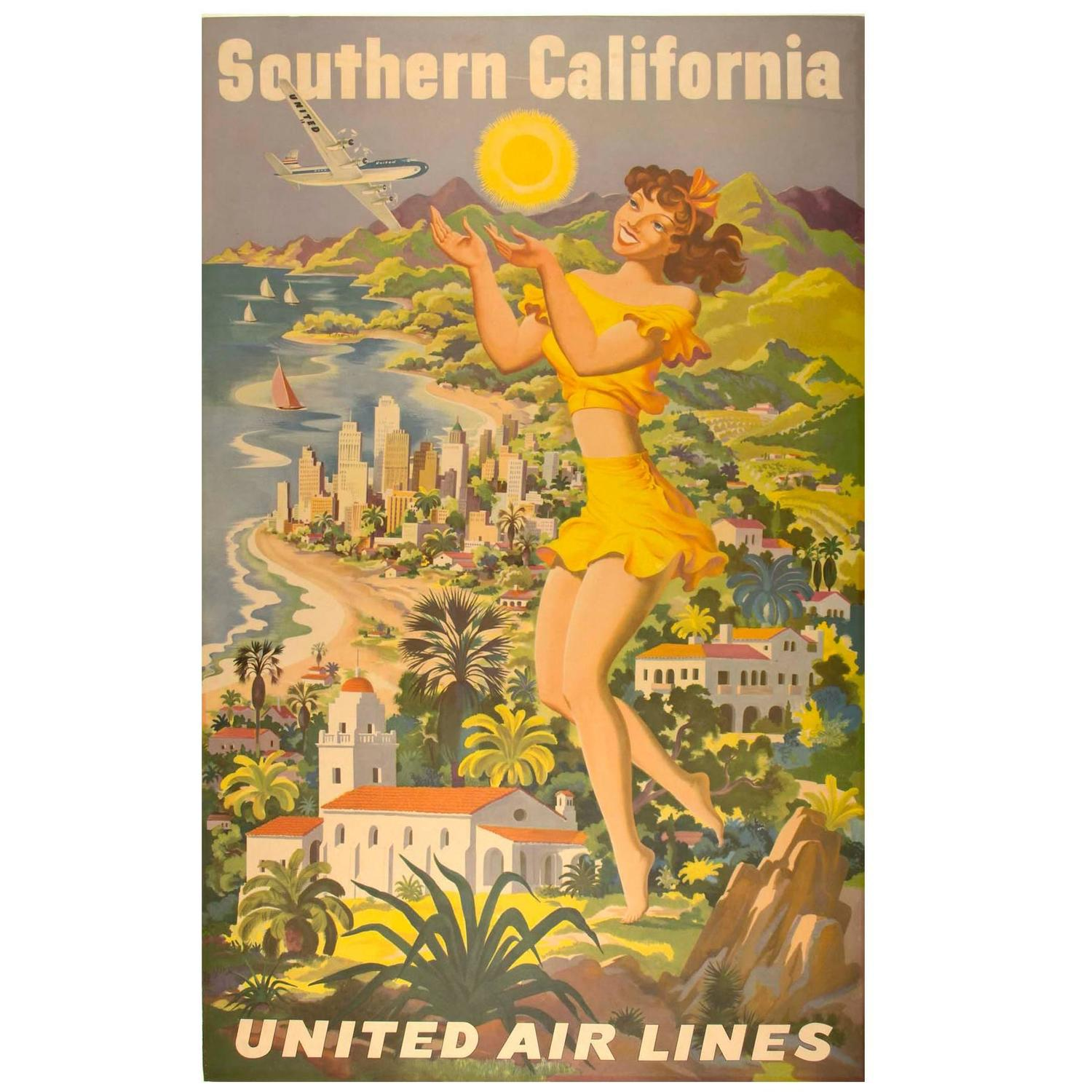 Cheap Posters Yosemite United Air Lines Vintage Travel Poster: Vintage United Airlines Poster For Sale At 1stdibs