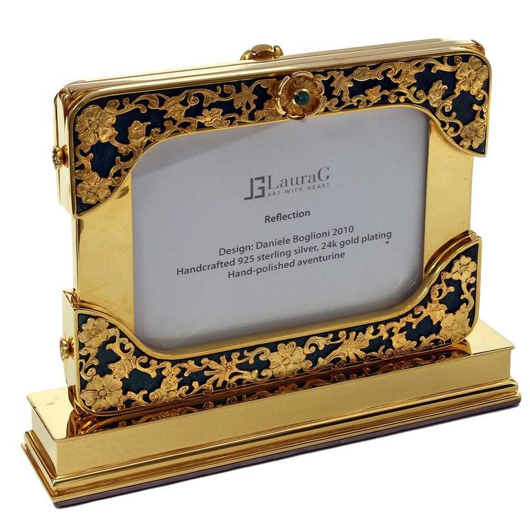 21 Century Gilt Silver Floral Double Photo Frame, Reflection For Sale