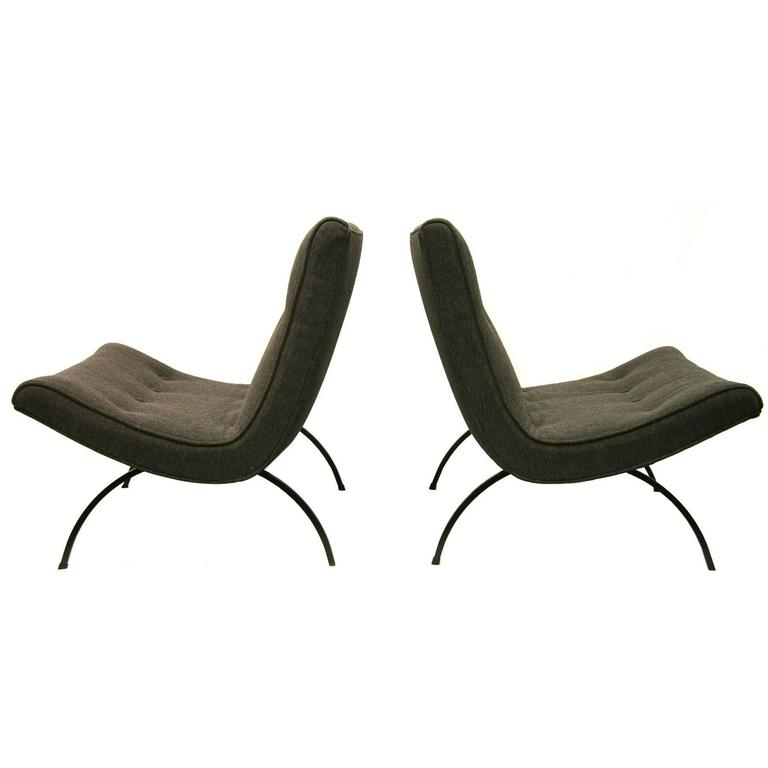 Pair Of Milo Baughman Scoop Chairs At 1stdibs