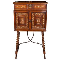17th Century Indo-Portuguese Walnut Cabinet on Stand with mother-of-pearl inlay