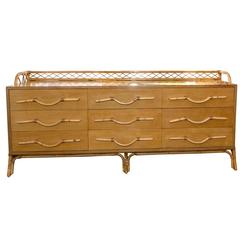 Bamboo Nine-Drawer Credenza with Unique Bamboo Detail