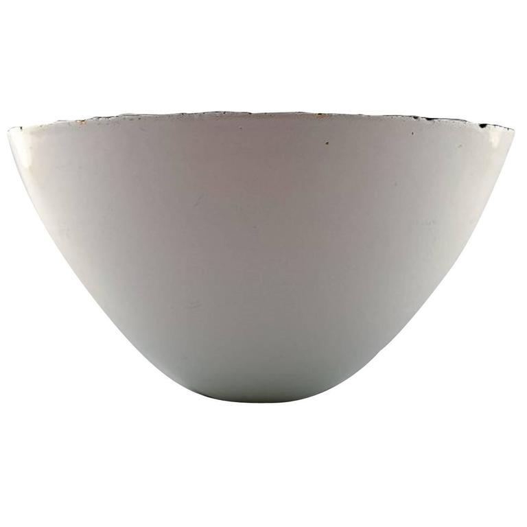Rare Large Krenit Bowl by Herbert Krenchel. White Metal and White Enamel, 1970s