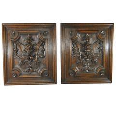Tudor Style High Relief Carved Oak Panels with Lions Heads and Fruit