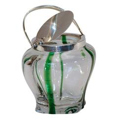 Stevens & Williams Crystal & Green Biscuit Barrel Sterling Silver Lid & Handle