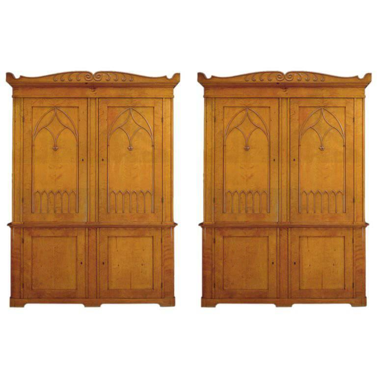 Pair of 19th Century Scandinavian Satin Birch Bookcases of Monumental Size