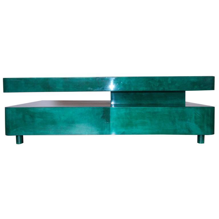 Aldo Tura Emerald Green Parchment Coffee Table For Sale