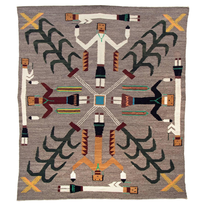 Vintage Navajo Yeibichai Sand Painting Rug Pictorial