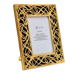 Italian Art Nouveau Gilt Silver Picture Frame with Black Marble, Illumination