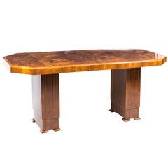1930s Art Deco Dining Table Burr Walnut