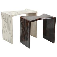 Shagreen and Sea Shell Side Tables with Bronze Details