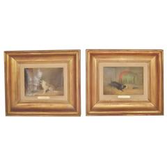 Pair of Signed Langlois Dog Paintings in Giltwood Frames