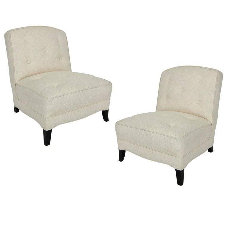 Fine Pair of Midcentury Slipper Chairs by W. J. Sloane