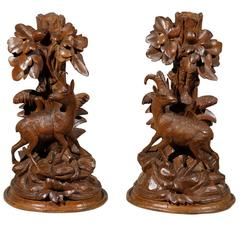 19th Century Pair of Black Forest Stag-Form Candlesticks