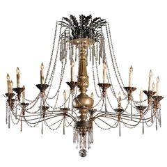 Continental Giltwood and Silver Gilt Pricket and Crystal 16-Light Chandelier