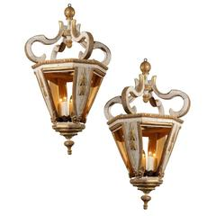 Italian Baroque Style 19th Century White and Gold Hanging Lanterns