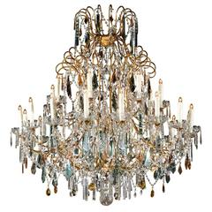 Continental Italian 24-Light Gilt and Crystal Chandelier with Colored Prisms