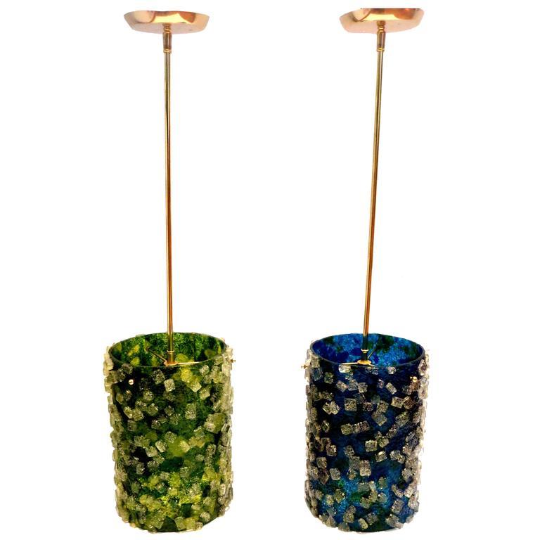 Striking Rock Candy Lucite Resin Pendant Lamps California Design