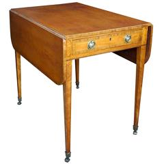 English George III Satinwood D-End Pembroke Table, Manner of Thomas Sheraton